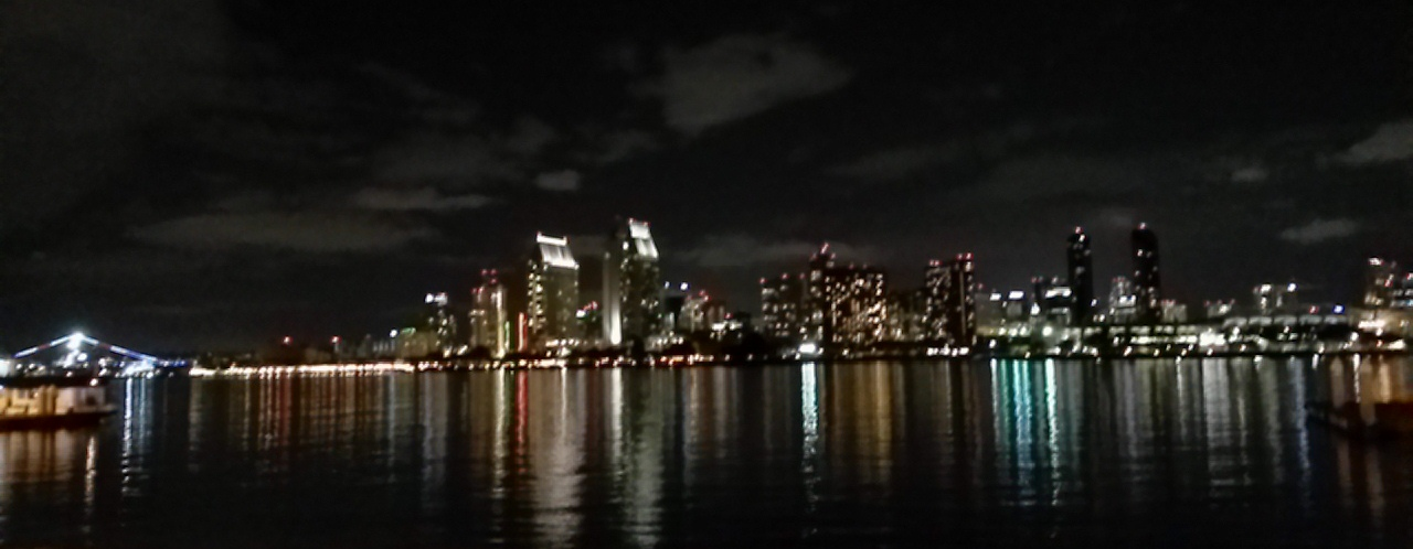 San Diego skyline from Coronado landing, 10-4-15, out-of-focus photo by James Ulvog.