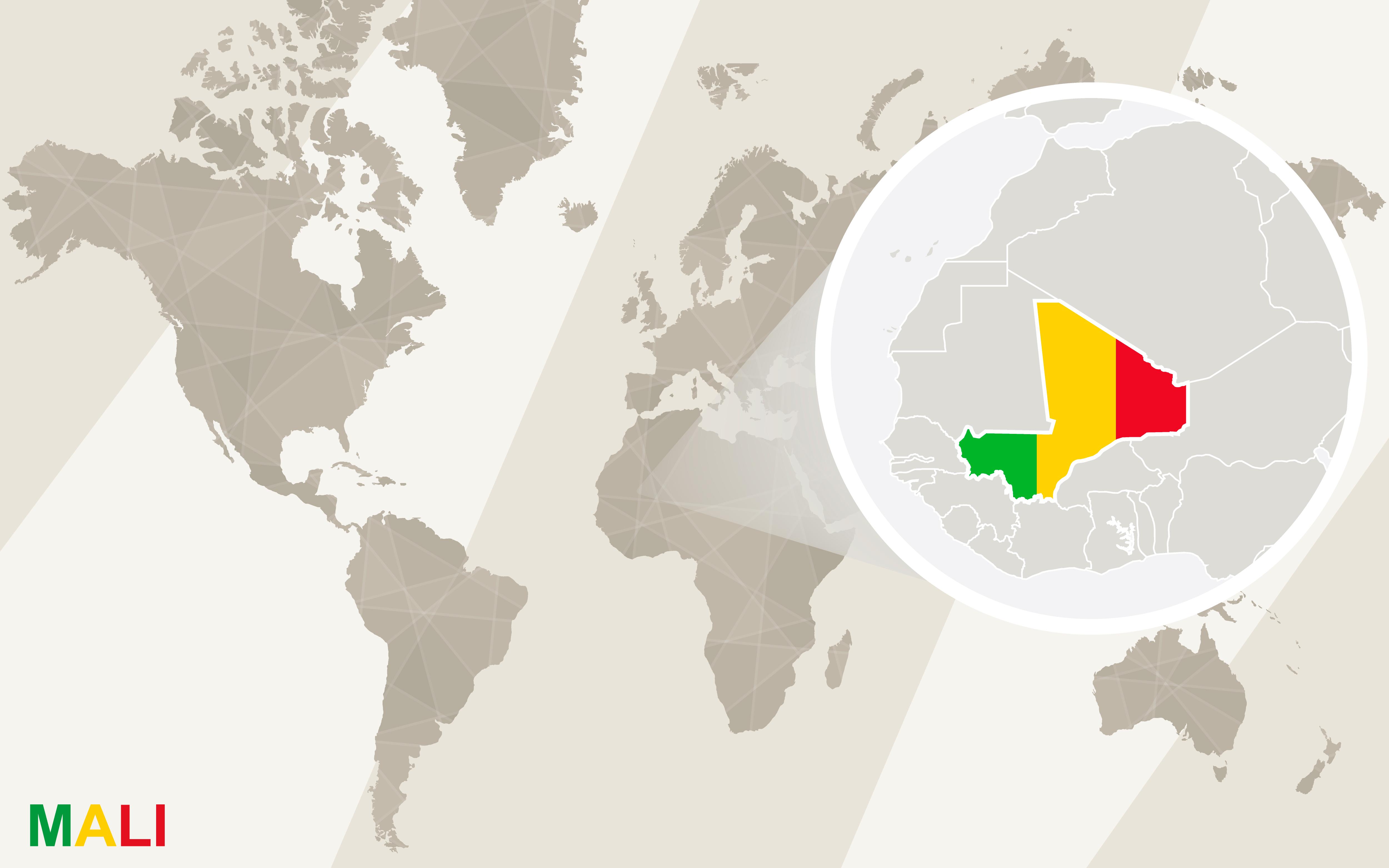 Location of Mali in western Africa. Image courtesy of DollarPhotoClub.