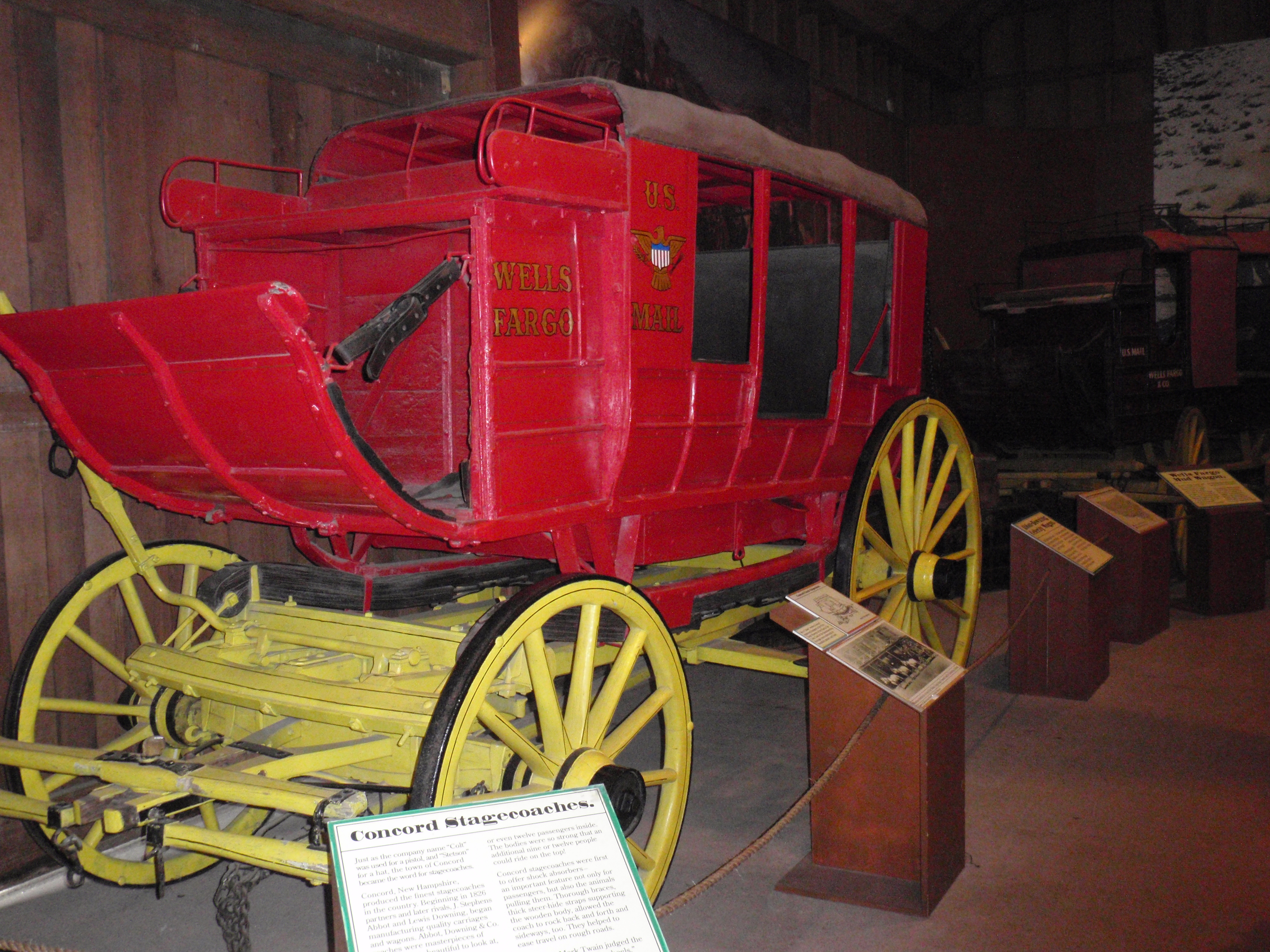 Concord stagecoach painted in Wells Fargo colors, housed at the Seeley Stable Museum Hazard Collection in Old Town San Diego Historic Park. April 2012 photo by James Ulvog.