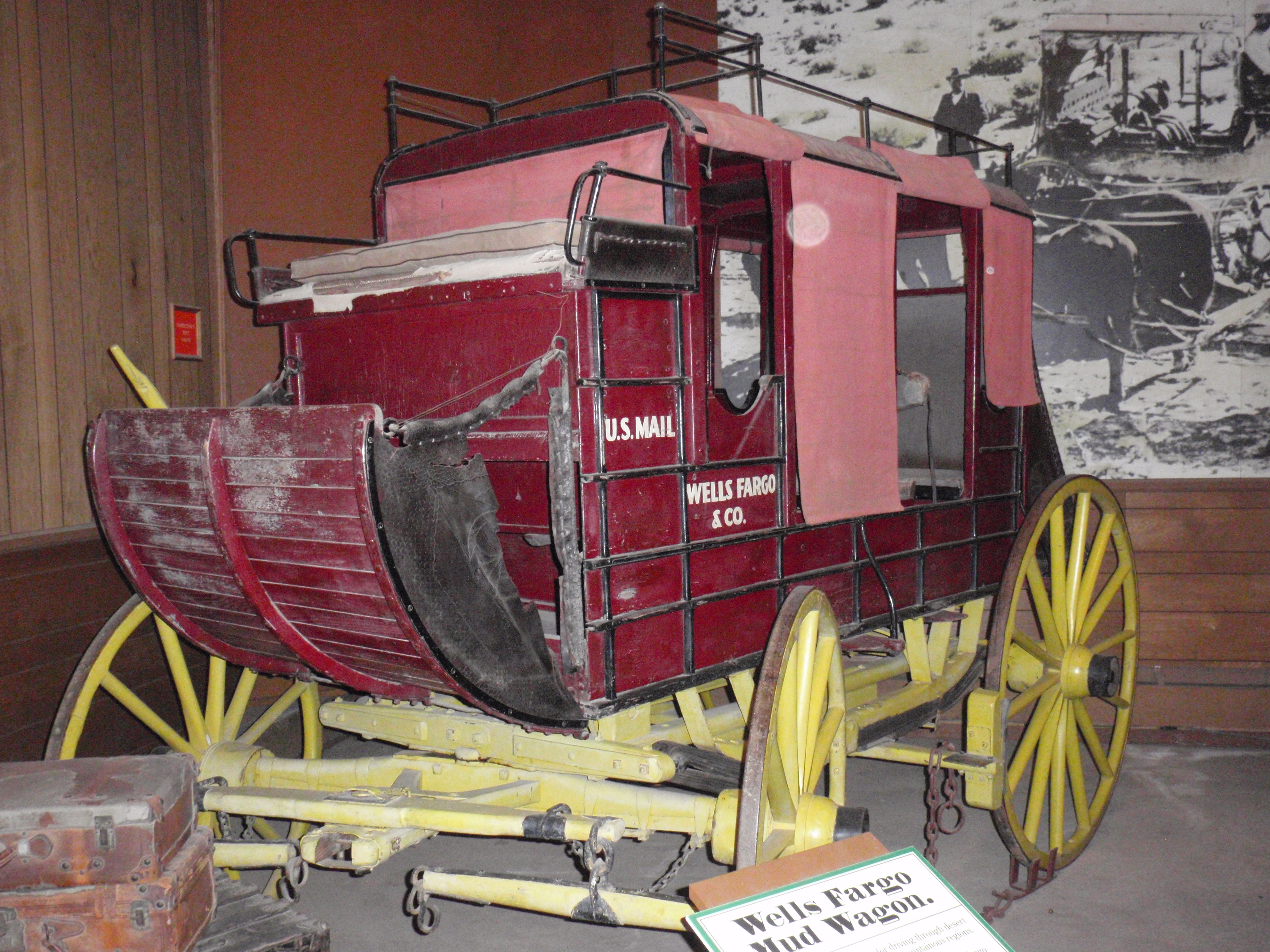 Original finish on mud wagon used by subcontractor to Wells Fargo on San Diego-Julian run in 1870s. Wagon is housed at the Seeley Stable Museum in Old Town San Diego Historic Park. April 2012 photo by James Ulvog.