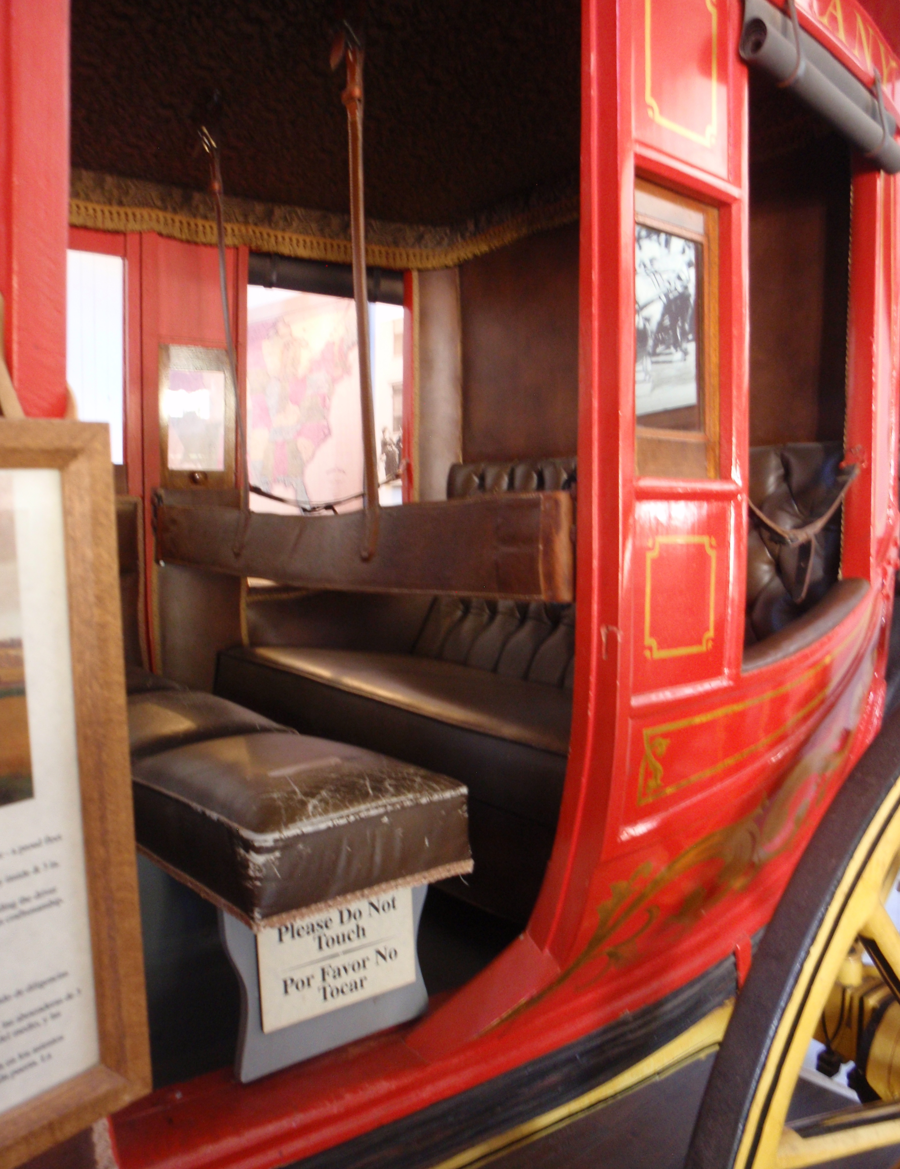 Interior of Concord coach. Imagine sharing that bench with two other passengers for the 24 day run from St Louis to San Diego. October 2016 photo at Wells Fargo's museum in San Diego by James Ulvog.
