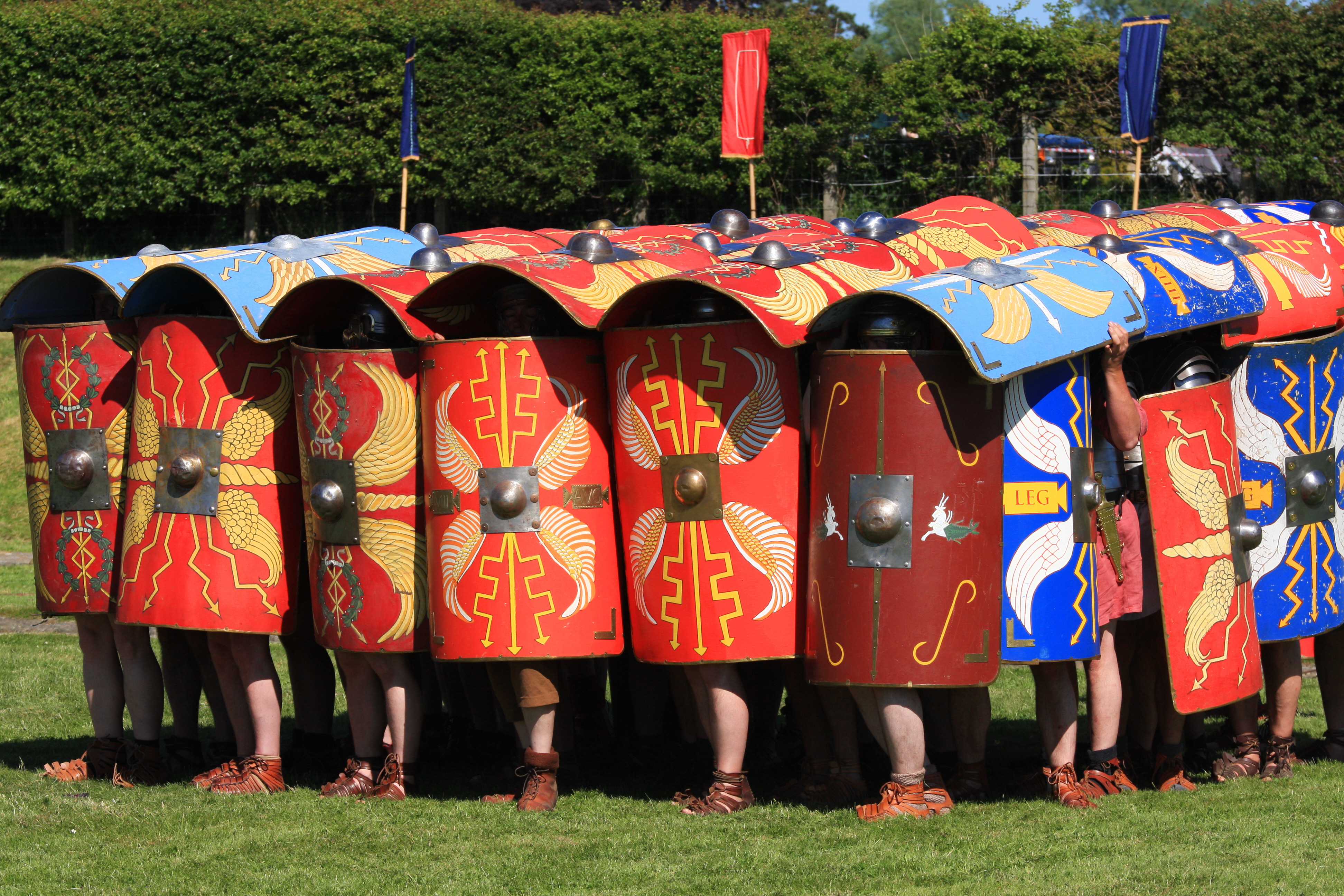 Roman soldiers in Testudo, or turtle, formation. If you lived 1000 years ago and happened to see one of these moving in your direction, you were about to have a very bad day. Photo courtesy of Adobe Stock.
