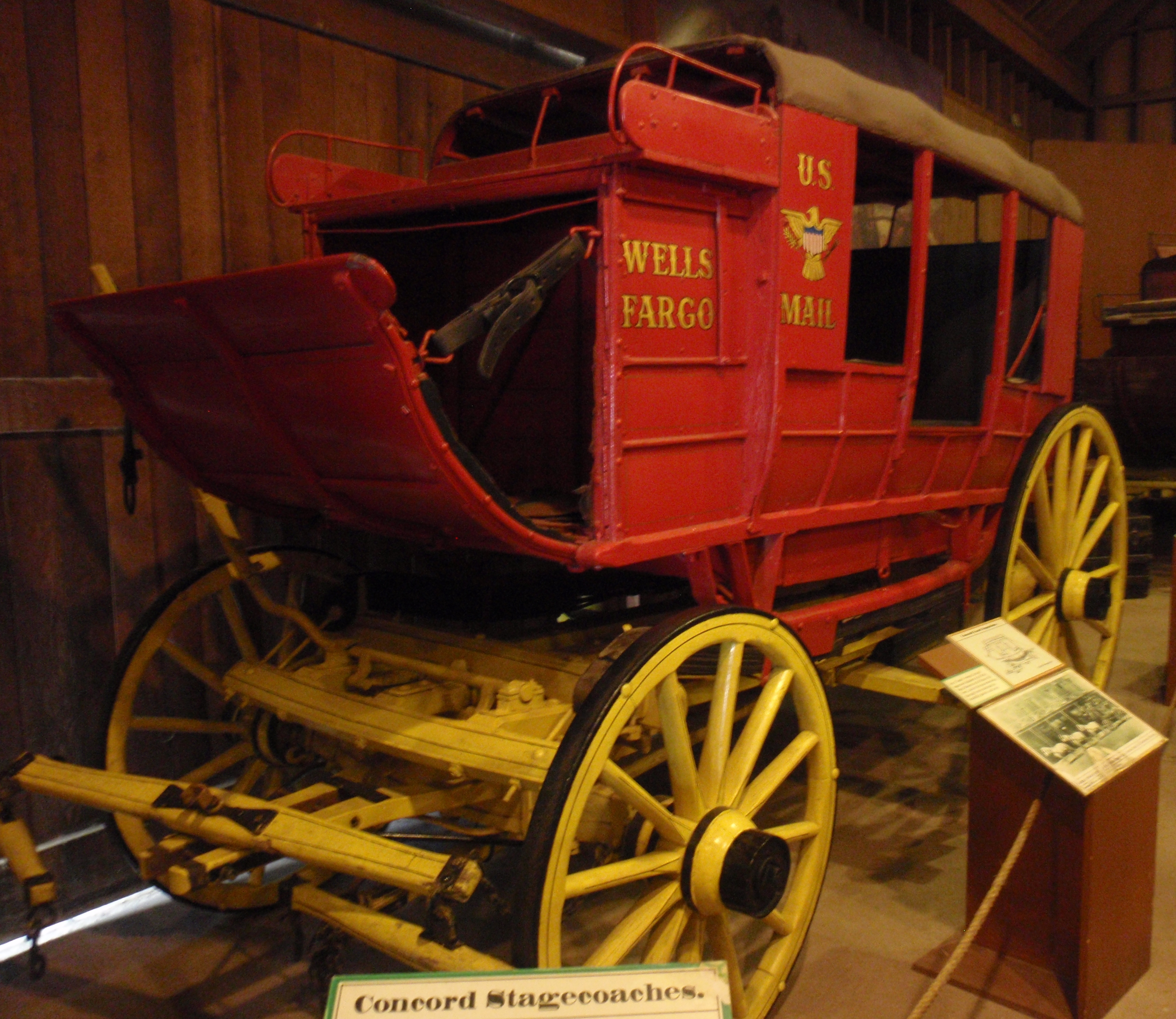 Wells Fargo 'mud wagon' at Seely Stable museum in San Diego' Old Town state park. Photo by James Ulvog.